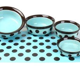 Rosewood Stoneware Teal & Brown Spot Pet Dish