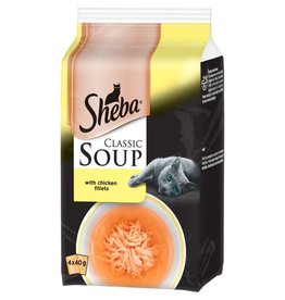 Sheba Classic Soup Adult & Senior Cat Wet Food with Chicken Fillets, 4 x 40g