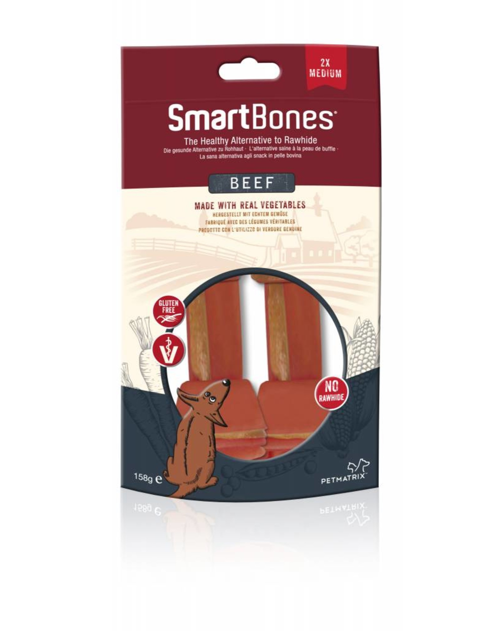 SmartBones Rawhide Alternative Beef Bones Dog Treats, Medium, 2 pack