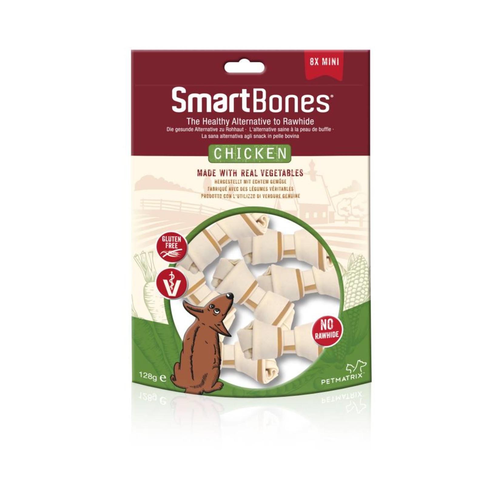 SmartBones Rawhide Alternative Chicken Bones Dog Treats, Mini, 8 pack