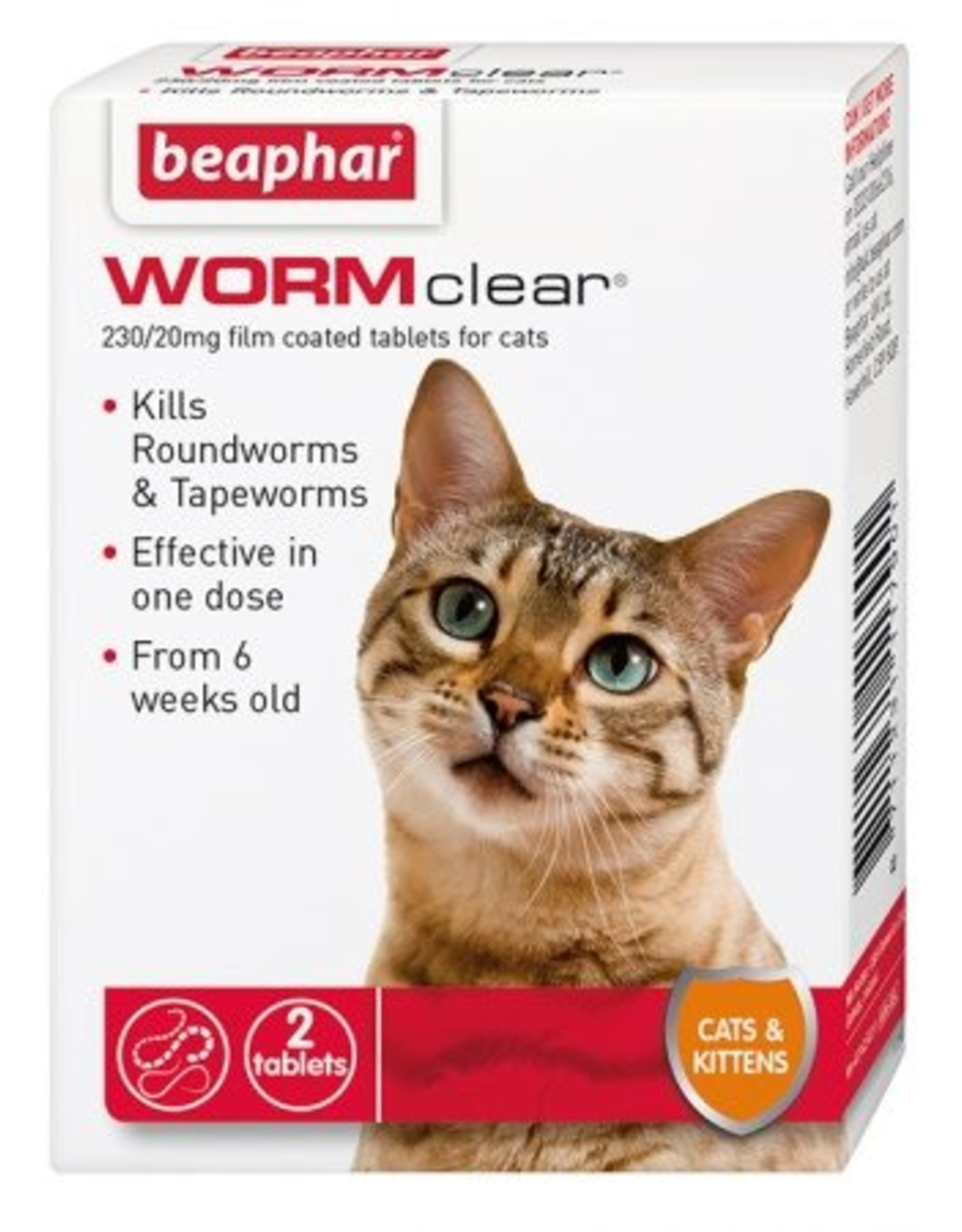 Beaphar WORMclear Cat One Dose Wormer for Cats & Kittens, 2 Tablets