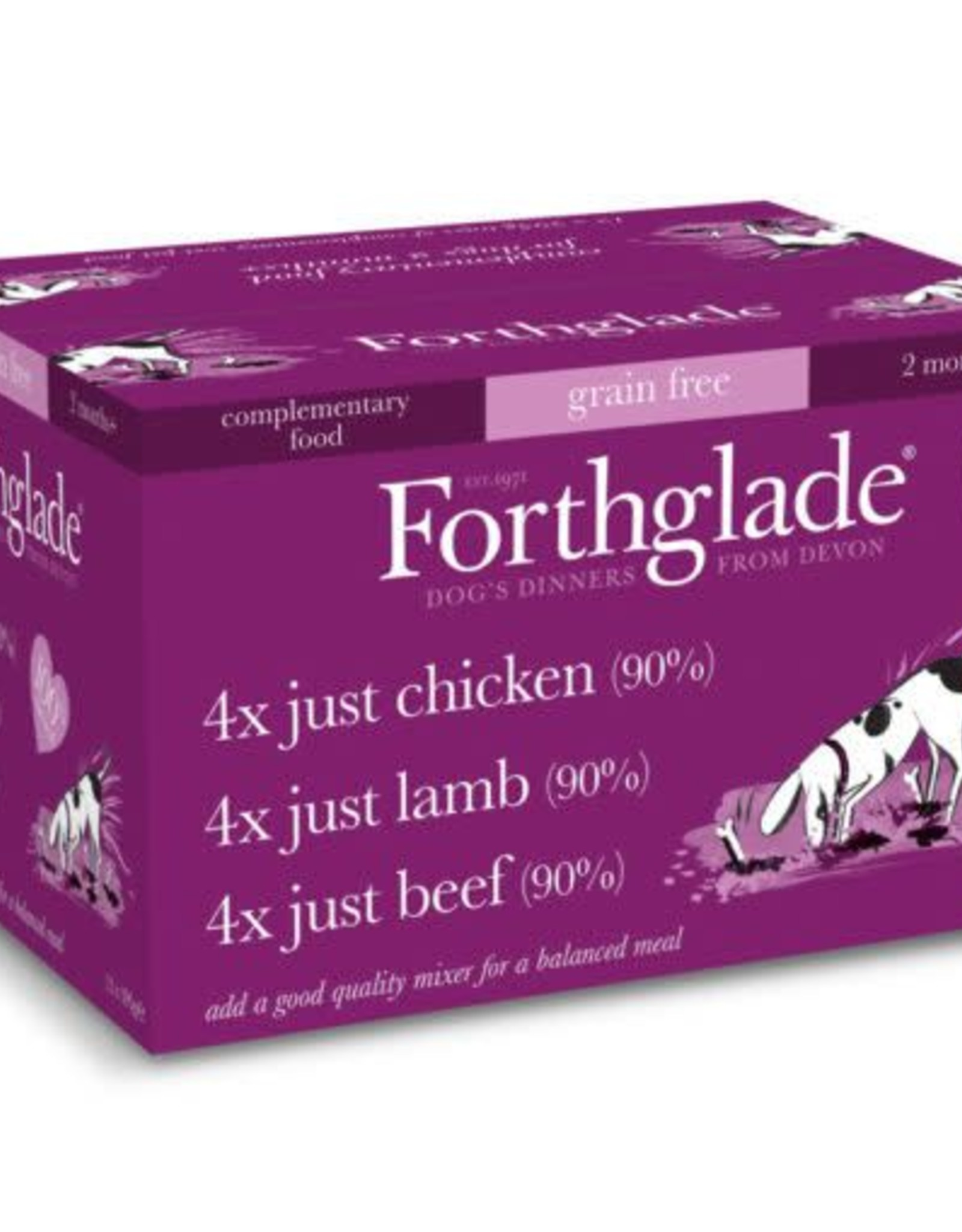 Forthglade Just Chicken, Lamb & Beef Grain Free 2 Months + Wet Dog Food, Multicase 12 x 395g