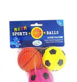 Happy Pet Neon Sports Balls Dog Toy, 3 pack