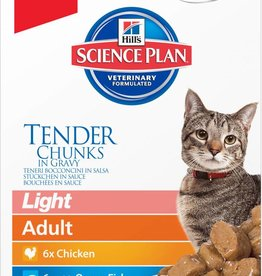 Hill's Science Plan Feline Adult Light Tender Chunks in Gravy Original Multipack Wet Cat Food Pouch 12 x 85g