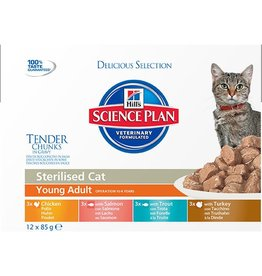 Hill's Science Plan Young Adult Sterilised Cat Wet Food Pouch, Multipack 12 x 85g