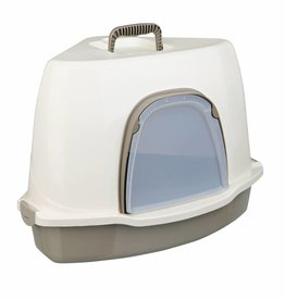 Trixie Alvaro Corner Cat Litter Tray 55 x 42 x 42/42cm, Cream/Taupe