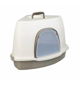 Trixie Alvaro Corner Cat Litter Tray, Cream & Taupe, 55 x 42 x 42cm