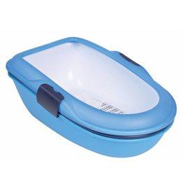 Trixie Berto Three-part Cat Litter Tray with Sieve, Blue, 39 x 22 x 59cm