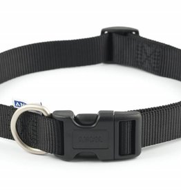 Ancol Adjustable Nylon Black Dog Collar