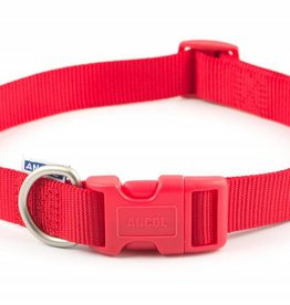Ancol Adjustable Nylon Red Dog Collar
