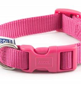 Ancol Heritage Nylon Adjustable Dog Collar, Raspberry