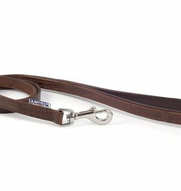 Ancol Heritage Vintage Padded Leather Dog Lead 100cm x 12mm, Chestnut