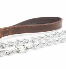 Ancol Heritage Vintage Padded Leather Handled Chain Dog Lead 75cm, Chestnut