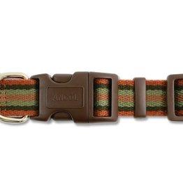 Ancol Indulgence Cotton Stripe Adjustable Dog Collar, Brown Stripe