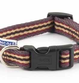 Ancol Adjustable Cotton Stripe Damson Dog Collar