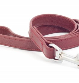 Ancol Indulgence Folded Leather Dog Lead Red, 19mm x 1m