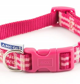 Ancol Indulgence Nylon Adjustable Dog Collar, Candy Pink Check