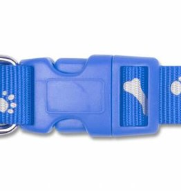 Ancol Adjustable Paw n Bone Reflective Bright Blue Dog Collar