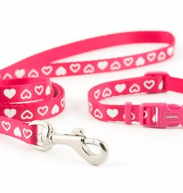 Ancol Small Bite Heart Collar & Lead Set, Raspberry
