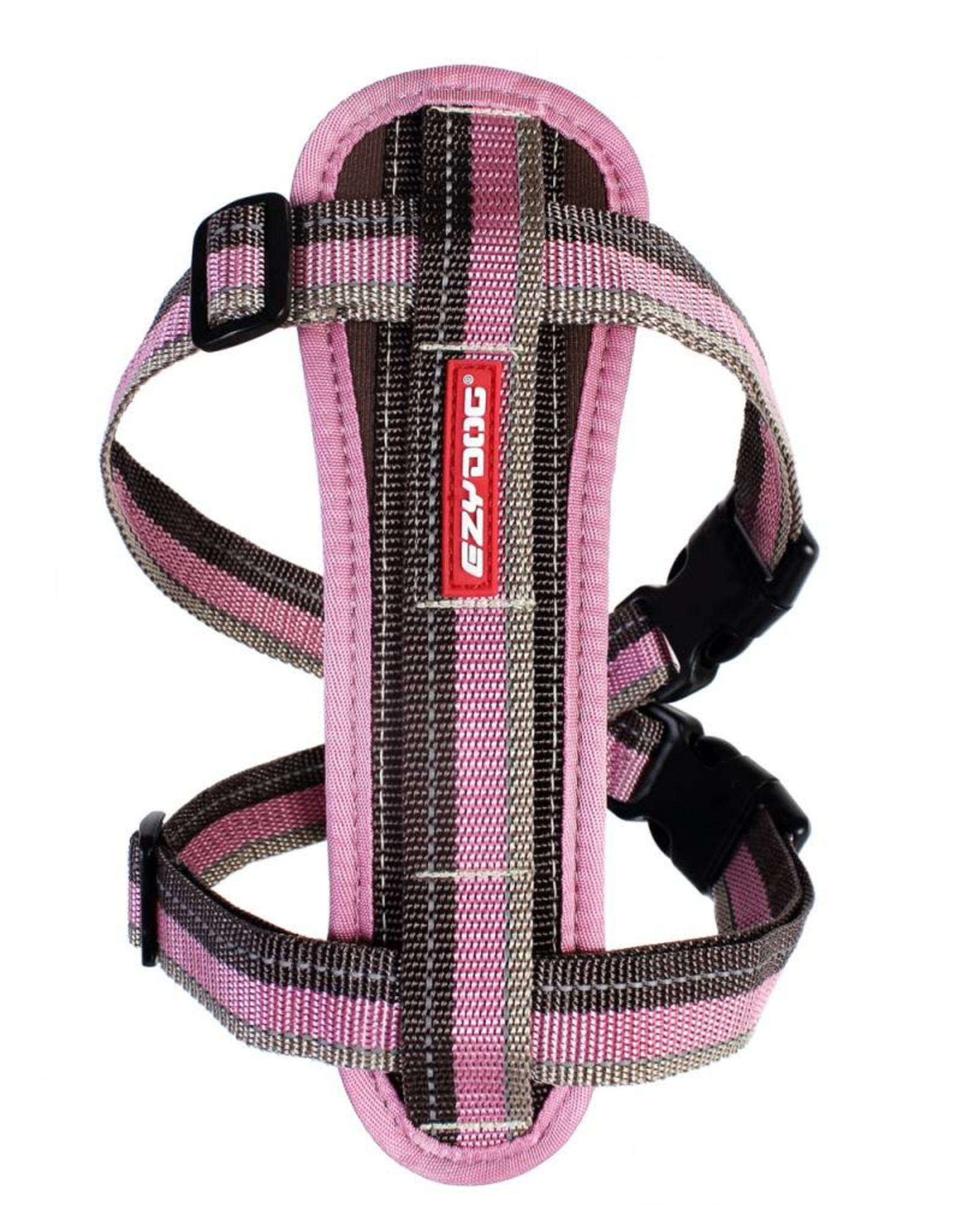 EzyDog Chest Plate Dog Harness with Seat Belt Loop, Candy Stripe