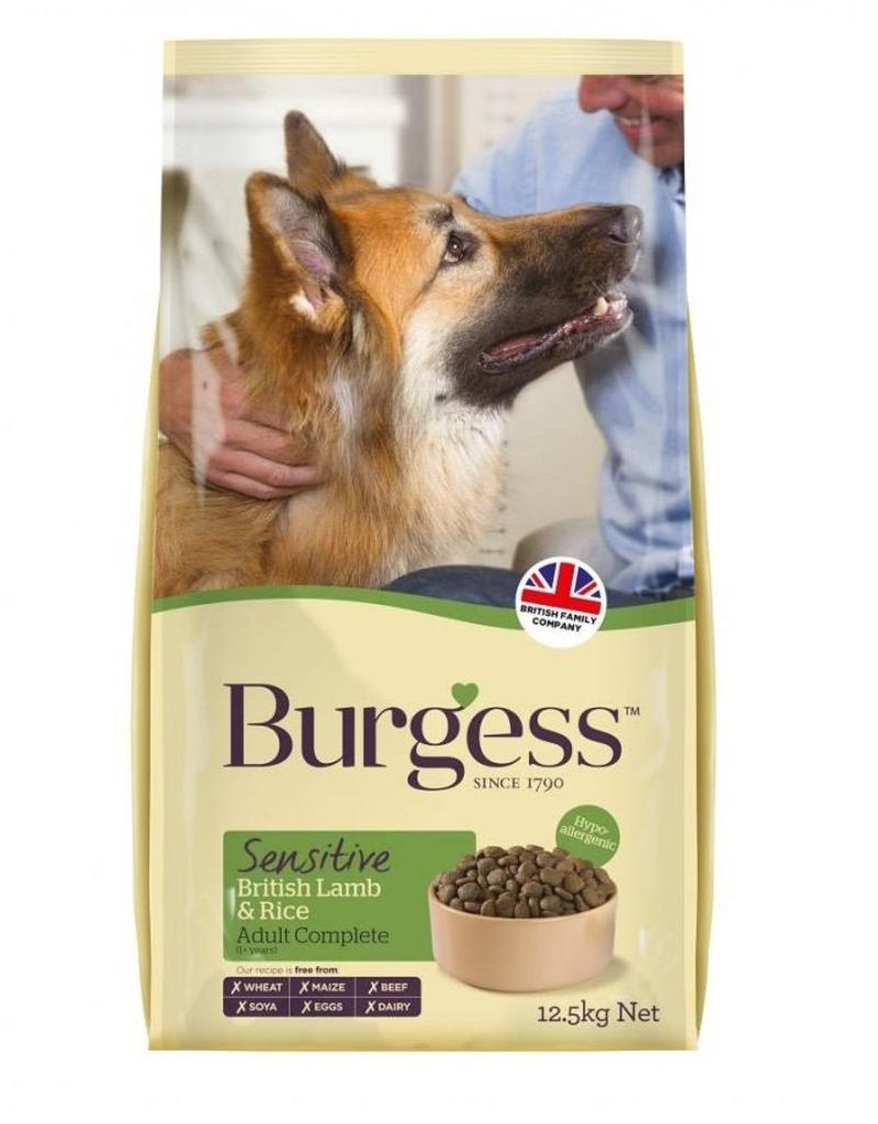 Burgess Sensitive Adult Dog Food, British Lamb & Rice 12.5kg x 2