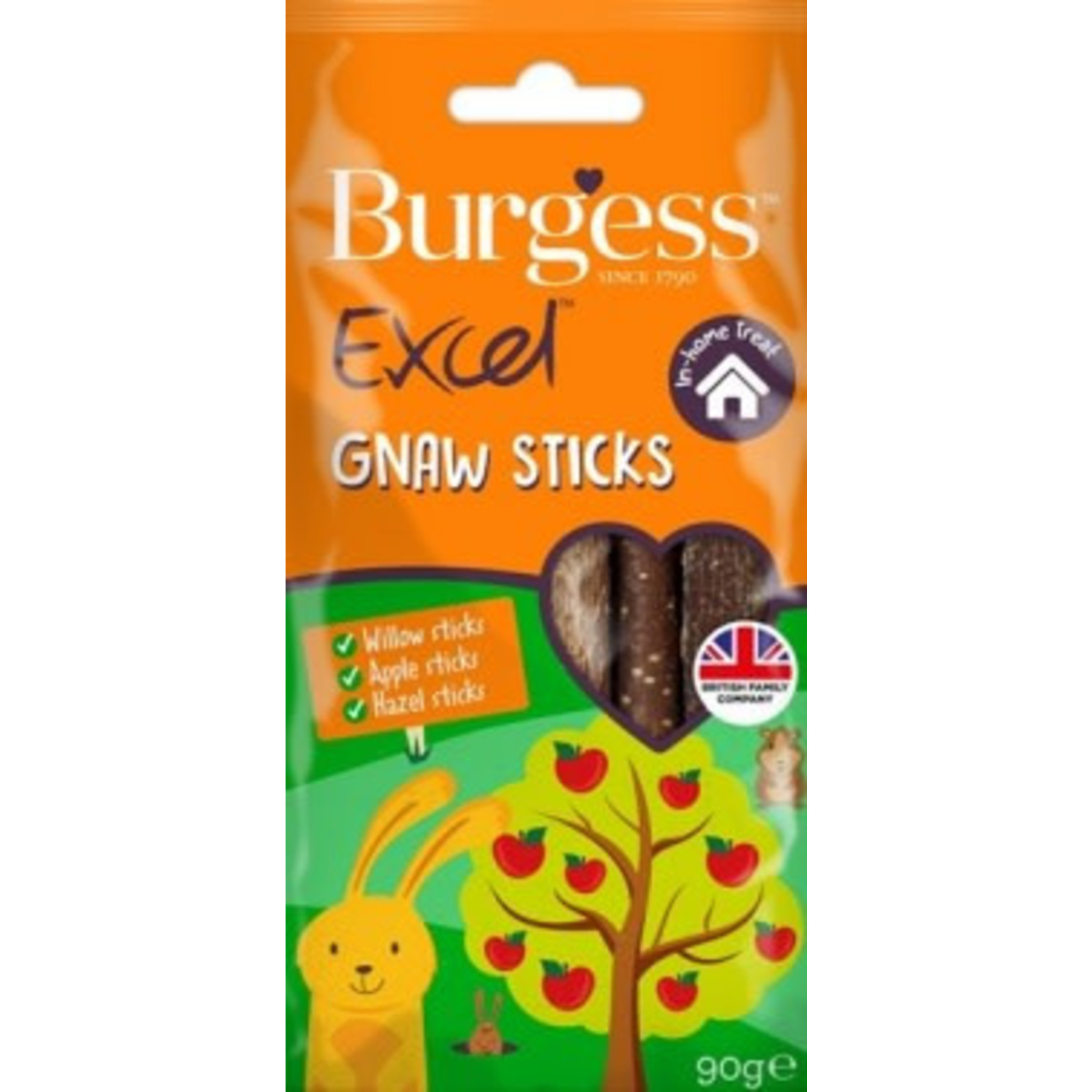 Burgess Excel Apple, Hazel & Willow Gnaw Sticks for Small Animals 80g