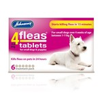 Johnsons Veterinary 4Fleas Tablets for Small Dogs & Puppies Up To 11 kg, 6 treatment pack