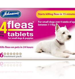 Johnsons 4Fleas Tablets Small Dogs And Puppies Up To 11 kg, 6 x 11.4 mg Tablets