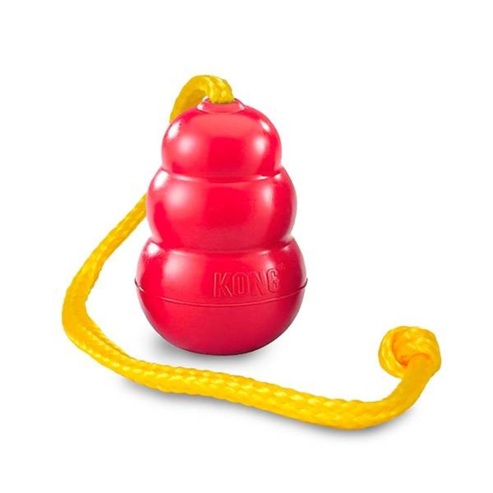 KONG Classic Red Rubber Dog Toy with Rope