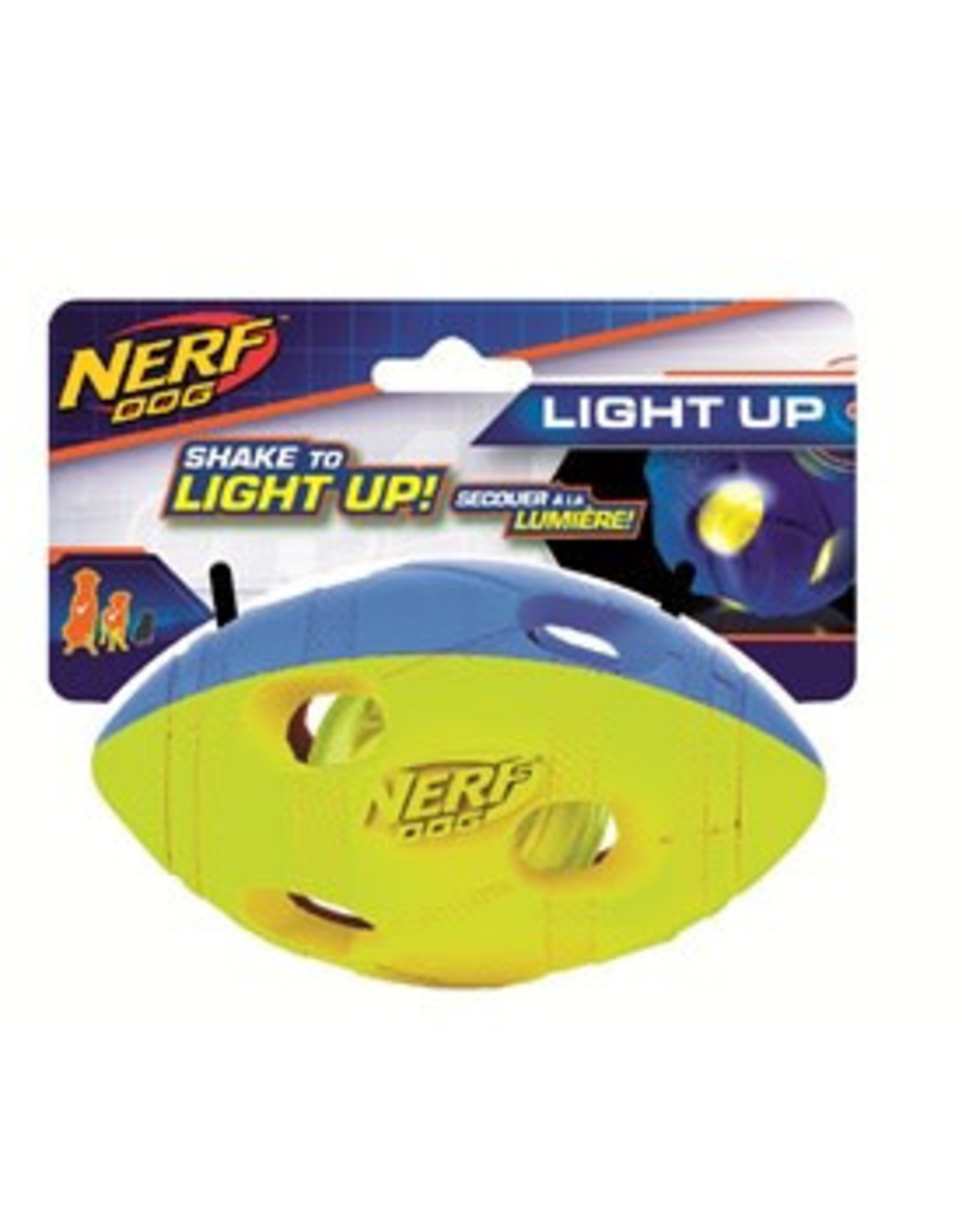 Nerf LED Bash Football Light Up Dog Toy, Medium