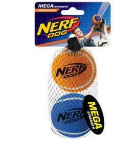 Nerf Mega Strength Tuff Tennis Balls Dog Toys, Medium, 2 pack
