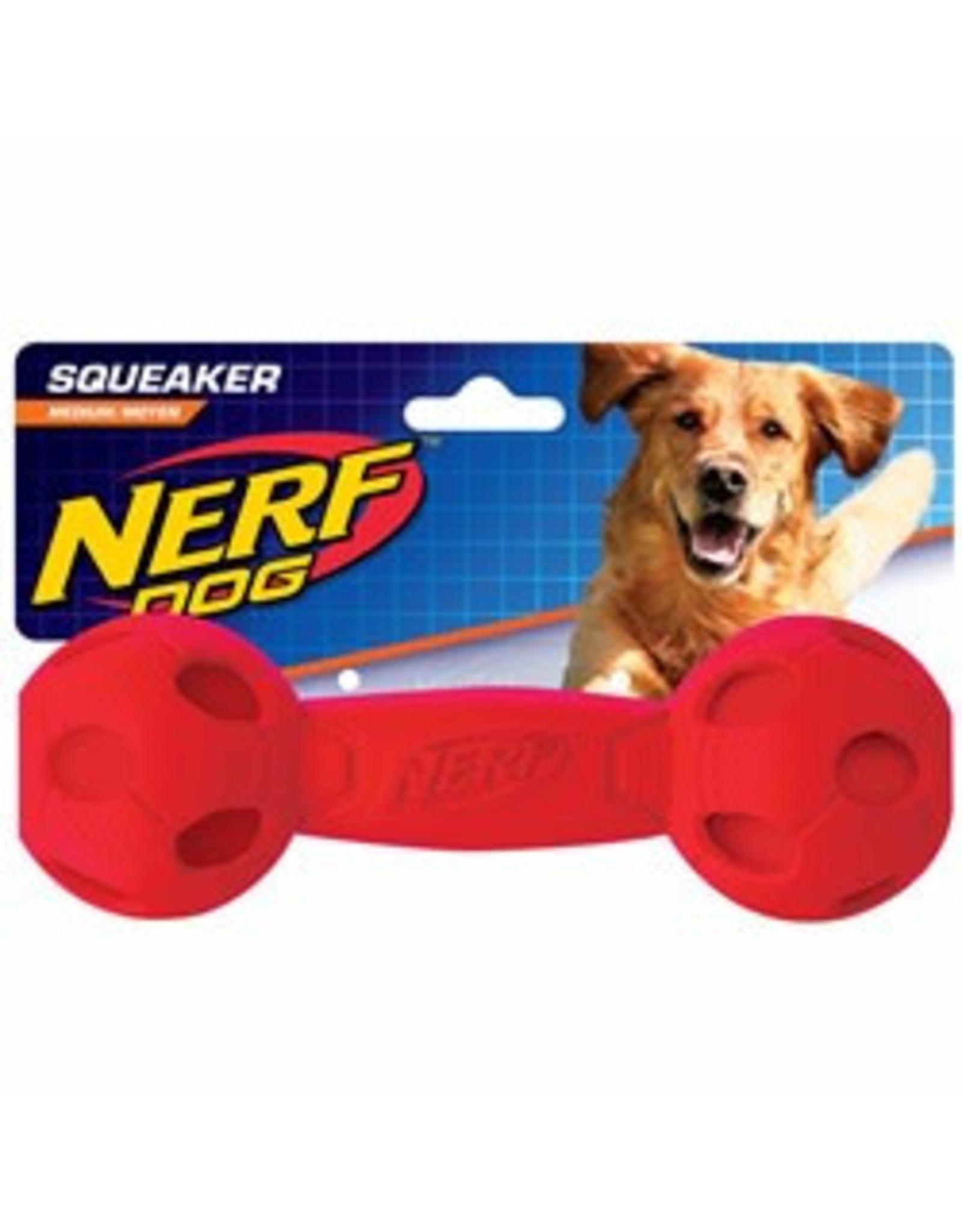 Nerf Squeak Barbell Dog Toy, Medium, 19cm