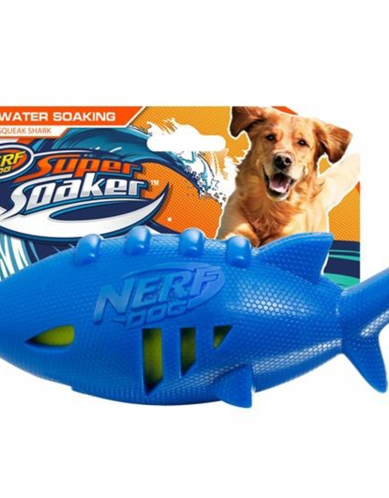 Nerf Super Soaker Shark Rubber Football Dog Toy, 18cm