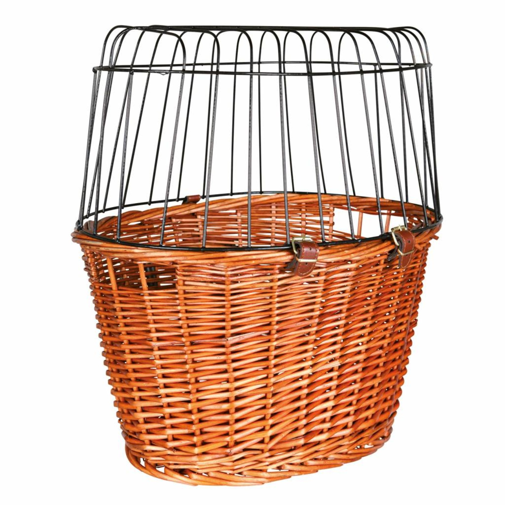 Trixie Willow Bicycle Basket with Wire Mesh Lid, 44 x 48 x 33cm