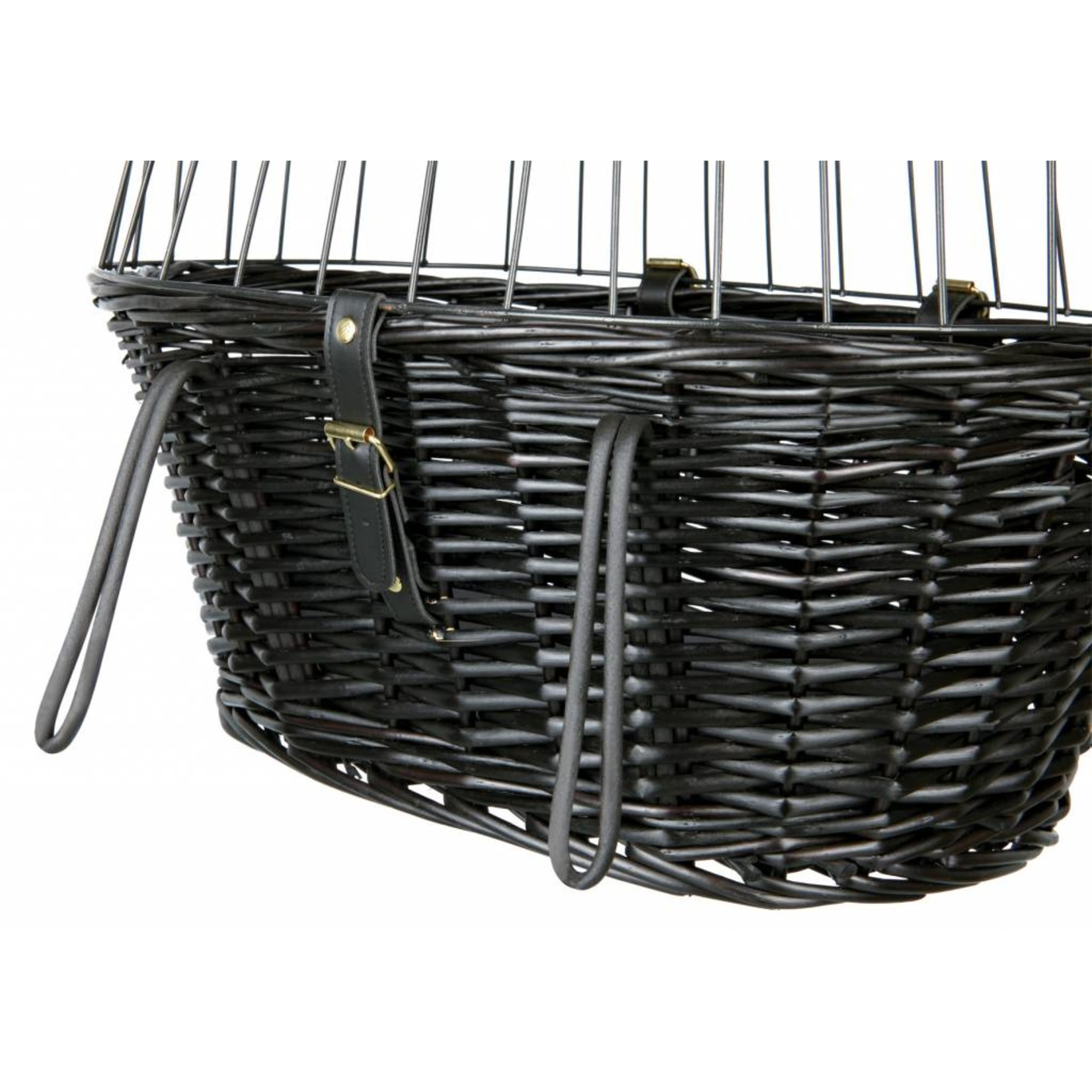 Trixie Willow Bicycle Basket with Wire Mesh Lid, Black, 50 x 41 x 35cm