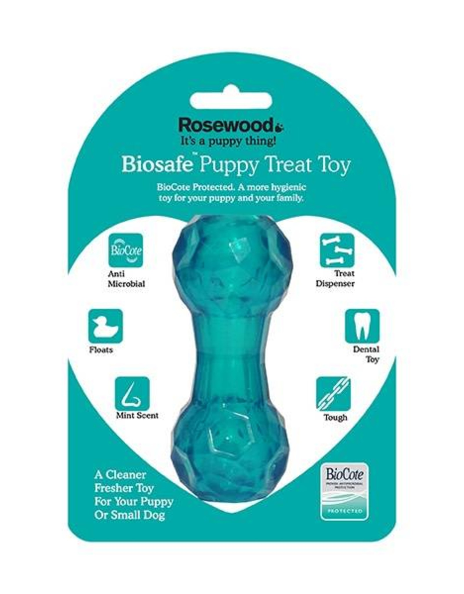 Rosewood Biosafe Puppy Treat Dumbell Toy, Blue