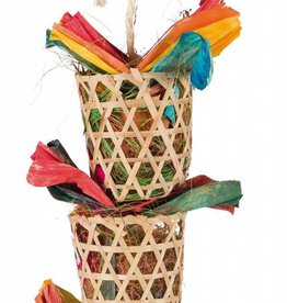 Trixie Natural Bird Toy on a Sisal Rope, Palm Leaf & Husk 35cm