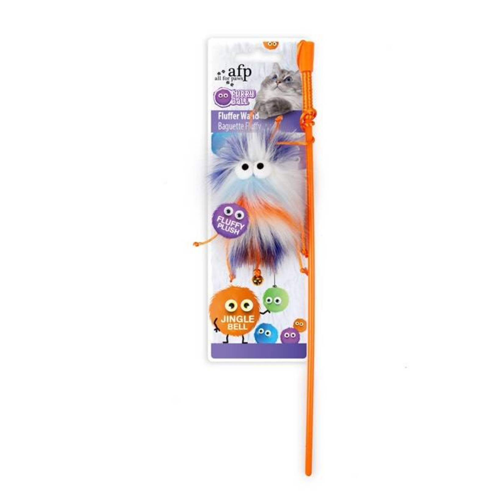 All For Paws Furry Ball Fluffer Wand Cat Toy