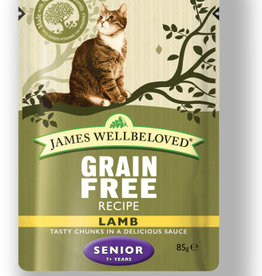 James Wellbeloved Cat Senior Grain Free Wet Food Pouch Lamb 85g, Box of 12