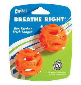 Chuckit Breathe Right Fetch Ball Dog Toy, Small 4.8cm, 2 pack