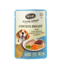 HiLife It's Only Natural Chicken Breast with Tuna & Garden Veg Wet Dog Food Pouch, 100g