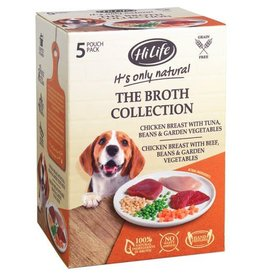 HiLife It's Only Natural Multipack Broth Selection Wet Dog Food Pouch, 5 x 100g