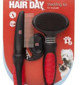 Mikki Shedding Kit with Grooming Slicker Brush, Comb & Matt Splitter, Small