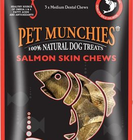 Pet Munchies 100% Natural Dog Treats, Salmon Skin Chews 90g
