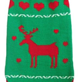 Animate Green Polo Neck Reindeer Christmas Dog Jumper
