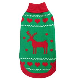 Animate Green Polo Neck Reindeer Christmas Dog Jumper