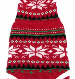 Animate Red Christmas Snow Flake Hooded Dog Jumper