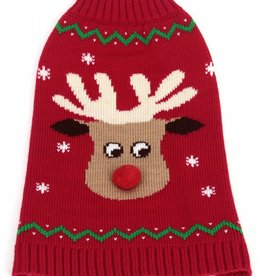 Animate Red Reindeer - Pompom Nose Crew Neck Dog Jumper