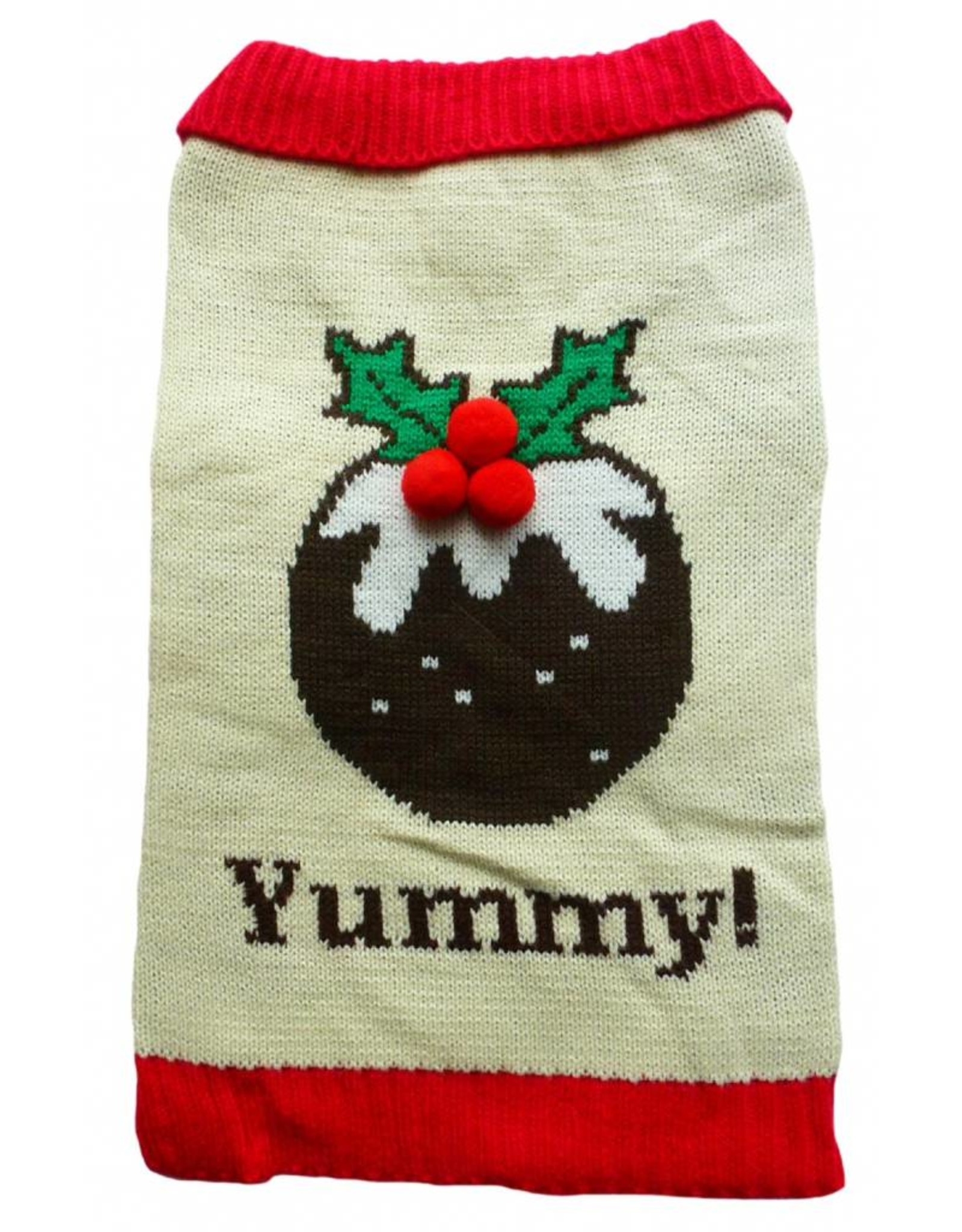 Animate Christmas Pudding Dog Jumper with a Button Collar