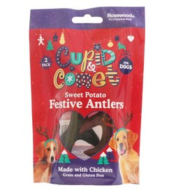Rosewood Christmas Sweet Potato & Chicken Antler Dog Treats, 2 pack 110g